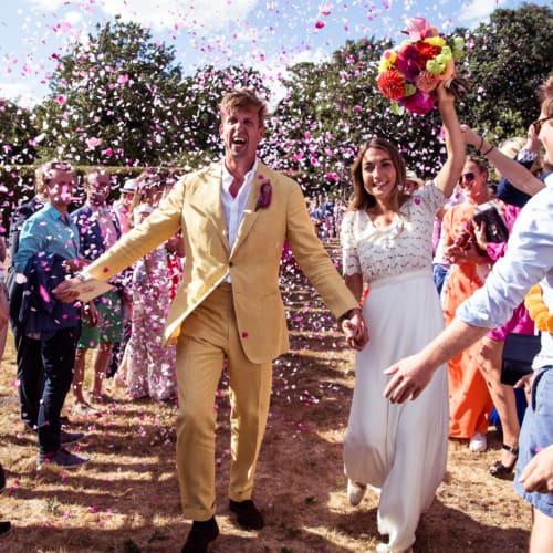 Teddy and Cas' colourful wedding